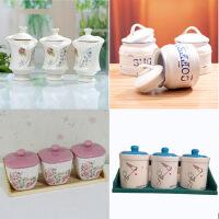 陶瓷密封罐仿搪瓷�{味罐三件套咖啡糖果茶�~陶瓷�{味罐�N房用品家用�{料盒款式�S�C