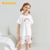 巴拉巴拉儿童睡衣夏季薄款女童家居服套装空调服短袖短裤印花时尚