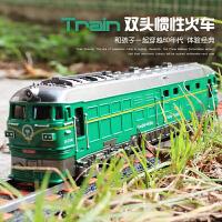 儿童玩具怀旧绿皮火车模型蒸汽内燃机车仿真惯性小汽车东风火车头