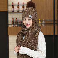 时尚冬季帽子围巾两件套女加绒保暖帽毛线帽甜美可爱护耳帽