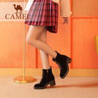 camel骆驼女鞋冬季新款马丁靴 时尚粗跟韩版百搭靴子系带舒适女靴
