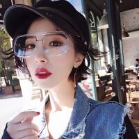 同款透明色镜框防蓝光装饰镜男女眼镜个性大框方形