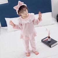 儿童秋冬宝宝法兰绒小女孩公主加厚女童珊瑚绒家居服两件套装睡衣