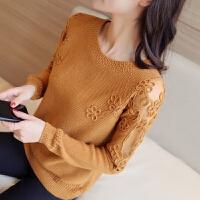 春装2018款女冰丝针织衫长袖韩版宽松短款套头毛衣蕾丝打底衫薄