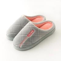 情侣冬季棉拖鞋女男厚底全包跟包脚保暖带后跟冬天防滑特大码