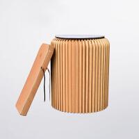 十八纸创意家具 收纳便携纸椅子 圆形矮小换鞋凳 牛皮纸折叠凳子