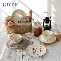 Joyye英式釉下彩陶瓷餐具套装复古做旧仿搪瓷家用盘碗套装*