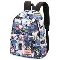 E印花双肩包女日帆布书包大学生旅行包女士背包 图片色