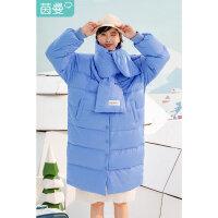 茵曼羽绒服女白鸭绒中长款冬季新款蓝色小个子可爱90绒宽松面包服【1894039】