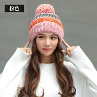 帽子女秋冬加厚时尚韩版可爱甜美毛球百搭针织英伦夹色冬季毛线帽