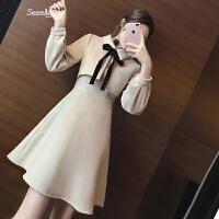 2018新款女装春装长袖小香风毛呢连衣裙学院风打底裙修身显瘦裙子