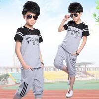 男童运动套装夏装2018新款儿童12-15岁中大童宽松大码童装两件套 灰色 TZ939 130码 适合40-60斤
