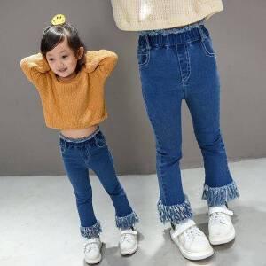 童装2018春秋季新款女童修身牛仔裤韩版儿童中大童流苏喇叭裤长裤