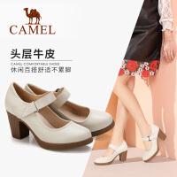 camel��女鞋春新款高跟鞋小皮鞋�n版百搭防水�_粗跟�涡�真皮鞋子