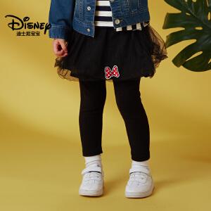 迪士尼宝宝重返学院女童针织网纱裙打底裤2018秋款上新