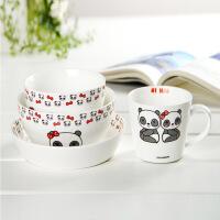 甜甜熊陶瓷餐具四件套装陶瓷碗组合礼盒包装陶瓷碗碟套装日式吃米饭碗家用创意简约餐具