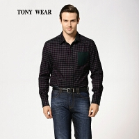 TONY WEAR/汤尼威尔棉丝小格子绒布长袖衬衫