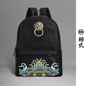 初�q中国风潮牌复古刺绣狮子头男女学生压花电脑双肩书背包