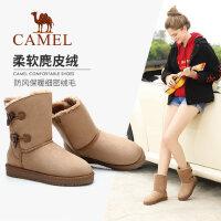 骆驼女鞋冬新款中筒滑雪地靴加绒保暖平底靴子学生棉鞋短靴女