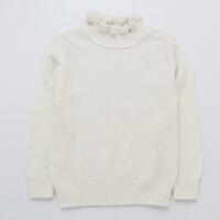 女童毛衣纯色儿童羊绒衫宝宝半高领羊毛针织衫中大童木耳领打底衫