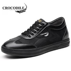 鳄鱼恤休闲鞋系带增高鞋内增高板鞋百搭舒适男鞋