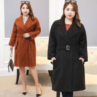加肥加大码毛呢外套女冬季新款200斤胖MM中长款OL气质西装领大衣