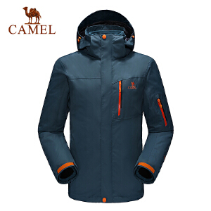 camel骆驼户外冲锋衣 男款防风透气两件套三合一冲锋衣