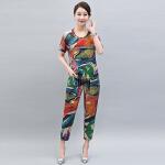 2017新款韩版中老年修身显瘦阔腿裤休闲时尚套装     bjF076-1705