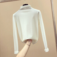 半高领加绒打底衫T恤女秋冬装2018新款修身纯色内搭紧身长袖上衣