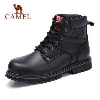 camel骆驼男鞋 秋季新款硬朗时尚高帮工装鞋靴牛皮潮马丁靴男靴子