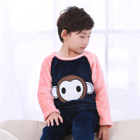 季儿童法兰绒睡衣韩版休闲男女童装卡通珊瑚绒小孩子家居服套装