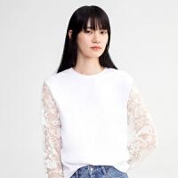 DAZZLE地素 19春装新款简约性感袖口拼接蕾丝衫女2G1D5501B