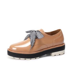 骆驼女鞋新款秋季时尚学院风英伦格子鞋带布洛克松糕鞋女单鞋