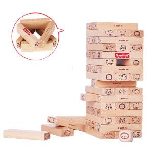 【当当自营】【当当自营】FisherPrice费雪木制原木色动物层层叠抽抽乐积木 3岁儿童益智FP1017B