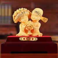 结婚礼物创意订婚*实用新婚礼品送朋友闺蜜绒沙金工艺装饰摆件