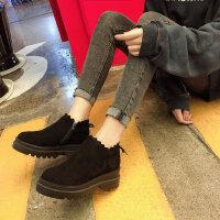 马丁靴加绒高跟女靴子潮松糕小短靴女秋冬季百搭韩版厚底
