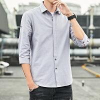 七分袖衬衫男士夏季韩版纯棉衬衣青年帅气百搭寸衫