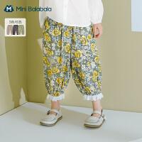 迷你巴拉巴拉女童纯棉长裤2021春款新品儿童裤子休闲宽松7分裤