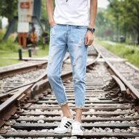 夏季破洞九分牛仔裤男士修身型韩版小脚9分裤港风宽松乞丐裤子男