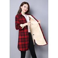 中长款加绒加厚衬衫秋冬韩版宽松大码女保暖衬衣长袖格子外套上衣 红格 加绒 XL 120-130斤