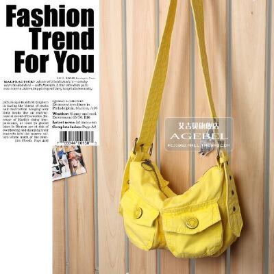 [1件2折]糖果色韩版淑女小包包实用通勤纯棉帆布单肩手提斜挎包 胸包