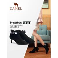 camel骆驼女鞋冬季新款短靴 韩版小跟短靴女瘦瘦靴休闲细跟女靴