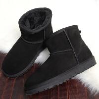 雪地靴女短筒冬季保暖加�q棉鞋皮毛一�w�n版百搭�W生短靴男面包鞋