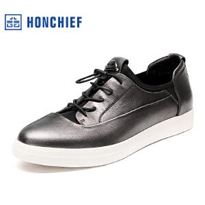 HONCHIEF 红蜻蜓旗下 秋季新款时尚擦色皮真皮男士休闲鞋流行男鞋