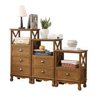 复古美式床头柜 北欧客厅柜实木抽屉式收纳柜子 置物柜客厅柜多层 整装