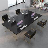 北欧实木办公桌会议桌长桌简约洽谈桌椅组合网红培训桌loft会议桌