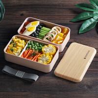 日式饭盒便当分格减脂轻食健身学生餐盒上班族双层微波炉专用简约