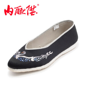 内联升女鞋布鞋 手工千层底黑天鹅 时尚休闲 老北京布鞋 8608A
