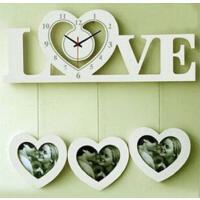 LOVE时尚创意相框挂钟 欧式田园个性客厅卧室时钟静音钟 颜色*