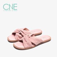 CNE2019夏季新款拖鞋女平底交叉带露趾休闲罗马鞋女拖鞋AM08501